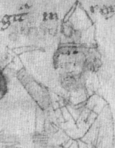 illustration of Pope Saint Callistus II from the 'Liber ad honorem Augusti', of Petrus of Ebulo, 1196; swiped from Wikipedia
