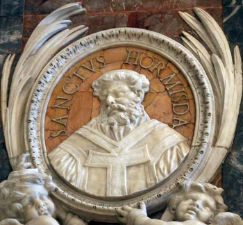detail of a bas-relief portrait medallion of Pope Saint Hormisdas, date and artist unknown; Saint Peter's Basilica, Rome, Italy