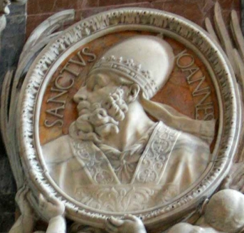 detail of a bas-relief portrait medallion of Pope Saint John I, date and artist unknown; Saint Peter's Basilica, Rome, Italy