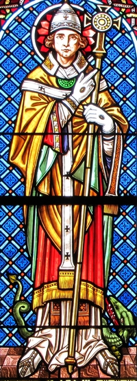 detail of a stained glass window of Pope Saint Leo IX; by Jean Weyh in the 19th century; Chapelle Saint-Léon, Alsace, Haut-Rhin, France; photographed in 2014 by Ralph Hammann; swiped from Wikimedia Commons; click for source image