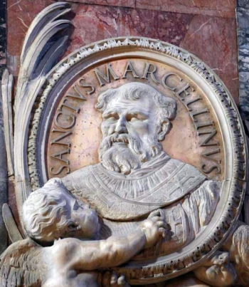 detail of a bas-relief portrait medallion of Pope Saint Marcellinus, date and artist unknown; Saint Peter's Basilica, Rome, Italy