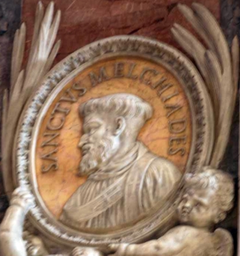 detail of a bas-relief portrait medallion of Pope Saint Miltiades, date and artist unknown; Saint Peter's Basilica, Rome, Italy