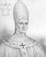 portrait of Saint Sergius I taken from 'Effigies Pontificum Romanorum Dominici Basae'