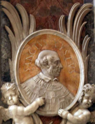 detail of a bas-relief medallion portrait of Pope Saint Sixtus I, date and artist unknown; Saint Peter's Basilica, Rome, Italy