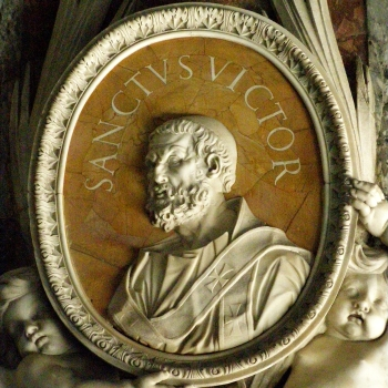 medallion with a portrait of Pope Saint Victor I; date and artist unknown; Saint Peter's Basilica, Rome, Italy; photographed on 25 July 2011 by Lure; swiped from Wikimedia Commons; click for source image