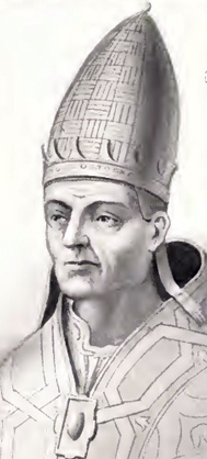 detail of an illustration of Pope Saint Vitalian; by Chevalier Artaud de Montor, 1842; from the edition published in 'The Lives and Times of the Popes', The Catholic Publication Society of America, New York 1911; swiped from Wikimedia Commons
