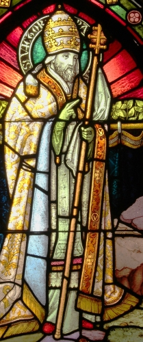 detail of a stained glass window of Pope Saint Victor I, date and artist unknown; parish church of Semmering, Austria; photographed on 17 July 2014 by Anna reg; swiped from Wikimedia Commons