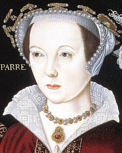 detail of a 16th century portrait of Queen Catharine Parr, artist unknown; swiped from Wikimedia Commons
