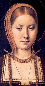 detail of a portrait of Catherine of Aragon by Michel Sittow, early 16th century; Kunsthistorisches Museum, Vienna, Austria