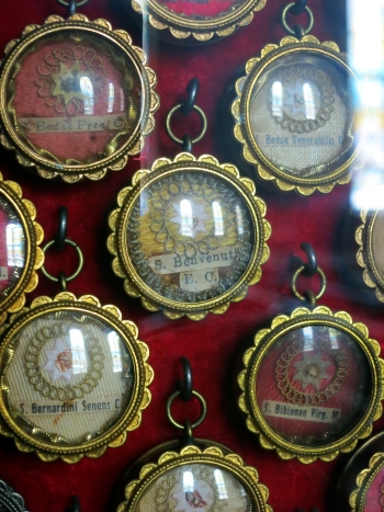 collection of relics in reliquaries