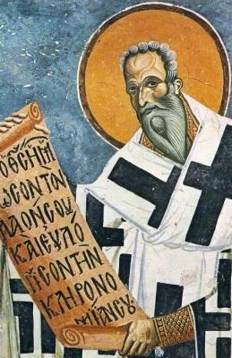 detail from a fresco of Saint Achilles of Larissa, 1191, artist unknown; church Saint George, Kurbinovo, Republic of Macedonia