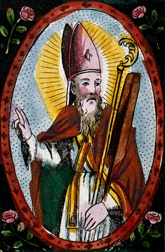 detail of a coloured engraving of Saint Adalbert of Prague, date and artist unknown; Wellcome Library, London, England