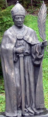 statue of Saint Adolar, by Hans Peter Rainer, 1999; photographed on 18 August 2010 by Wolfgang Sauber; swiped off Wikimedia Commons