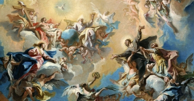 detail of the painting 'The Glorification of Saint Felix and Saint Adauctus' by Carlo Innocenzo Carlone, c.1759; swiped from Wikimedia Commons