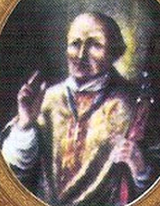 detail of an antique holy card of Blessed Adelelmo of Engelberg, date and artist unknown; swiped from Santi e Beati