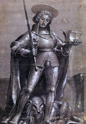chiaroscuro drawing of Saint Adrian of Nicomedia by Hans Holbein the Younger, c.1521; swiped from Wikimedia Commons