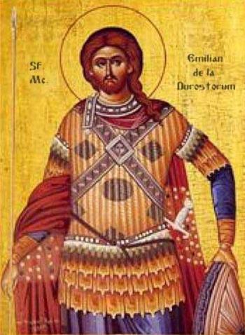 Saint Aemilian of Dorostorium icon, date and artist unknown; swiped from Santi e Beati; click for source image