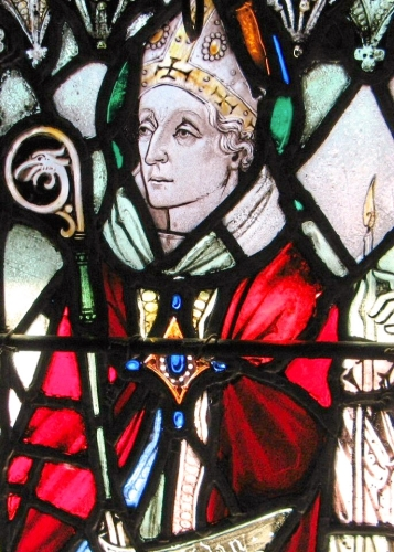detail of a stained glass window of Saint Aidan of Lindisfarne, 1920, artist unknown; monastic chapel, Holy Cross Monastery, West Park, New York; photographed on 9 July 2007 by Randy OHC; swiped from Wikimedia Commons