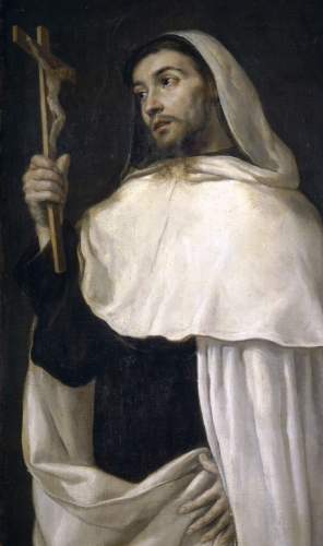 detail of a painting of Saint Albert of Sicily by Antonio de Pereda, c.1670; Prado Museum, Madrid, Spain; swiped from Wikimedia Commons