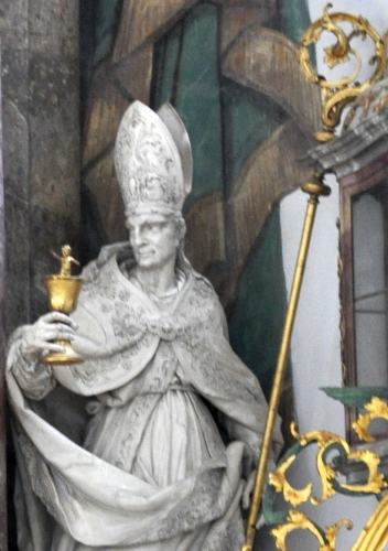 detail of a statue of Saint Alto of Altomünster, by Diego Francesco Carlone, 1719-1723l high altar of the Basilica of Saint Martin and Oswald, Weingarten, Württemberg, Germany; photographed in April 2011 by Andreas Praefcke; swiped from Wikimedia Commons