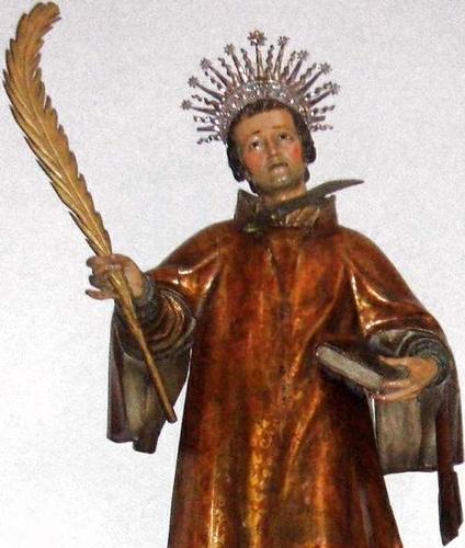 detail of a statue of Saint Antoninus of Pamiers, Basilica of Santa Maria de la Asuncion, Lequeitio, Biscay, Spain, artist unknown, date unknown