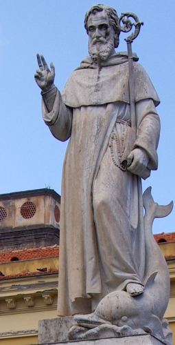 statue of Saint Antoninus of Sorrento, date and artist unknown; Piazza Sant'Antonino, Sorrento, Italy; photographed by Berthold Werner on 12 May 2013; swiped from Wikimedia Commons