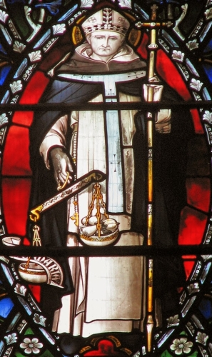 detail of a stained glass window of Saint Antoninus of Florence, apse of Saint Dominic's Priory church, London, England; swiped with permission from the flickr account of Brother Lawrence Lew, OP