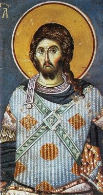 detail of a fresco of Saint Mercury and Saint Artemia, by Manuel Panselin, c.1300, Mount Athos, Greece; swiped off Wikimedia Commons
