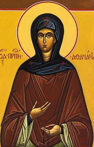 detail of an Orthodox icon of Saint Athanasia of Aegina, author unknown