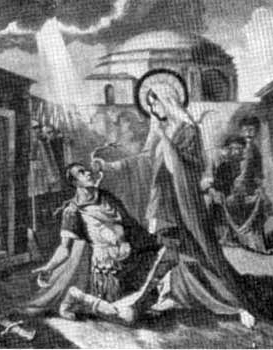 detail of an illustration of the conversion of Saint Audax, date and artist unknown; swiped from Santi e Beati