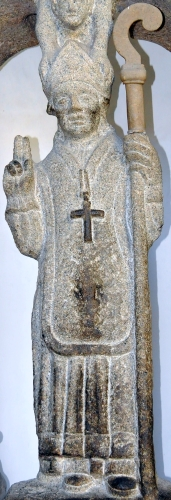 detail of a statue of Saint Auditus of Braga, date and artist unknown; cathedral of Braga, Portugal; photographed on 26 May 2009 by Joseolgon; swiped from Wikimedia Commons