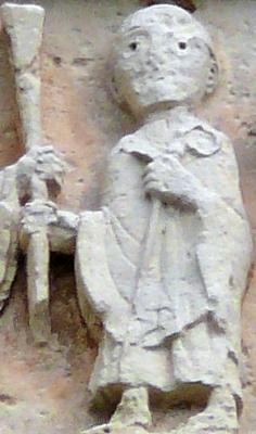 bas-relief sculpture of Saint Austregisilus of Bourges receiving his authority as bishop of Saint Peter the Apostle, church in Châtillon-sur-Indre, France