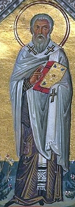 Saint Auxibius of Soli, from the Menilogion of Soli; swiped from Wikimedia Commons