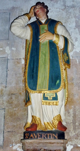 statue of Saint Avertinus of Tours, artist unknown, c.1700; Saint-Mélaine de Morlaix Church, Molaix, France; photographed on 28 June 2016 by Moreau.henri; swiped from Wikimedia Commons