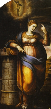 detail of a painting of Saint Barbara by Lattanzio Gambara, date unknown; photogra