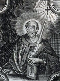 detail of an illustration of Saint Bardo of Mainz, date and artist unknown; swiped from Santi e Beati; click for source image