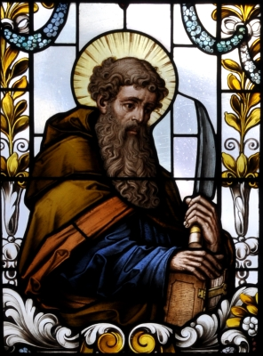 detail of a stained glass window of Saint Bartholomew the Apostle; 19th century by F X Zettler, Munich, Germany; parish church of Saint Alban, Gutenzell-Hürbel, Biberach, Germany; photographed in January 2015 by Andreas Praefcke; swiped from Wikimedia Commons; click for source image