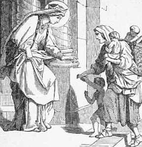 illustration of Saint Bathild dispensing alms to the poor; taken from 'Pictoria Lives of the Saints', 1892