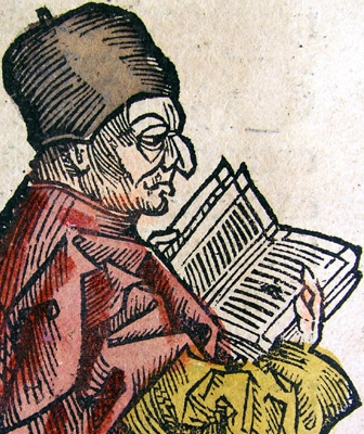 illustration of Saint Bede the Venerable, from the Nuremberg Chron