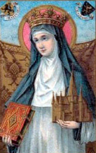 detail from an antique Dutch holy card featuring an image of Saint Begga of Ardenne, artist unknown