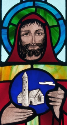 detail of a stained glass window Saint Benignus of Armagh, Saint Benin's Church, Kilbennan, County Galway, Ireland; artist unknown; photographed on 16 September 2010 by Andreas F Borchert; swiped from Wikimedia Commons