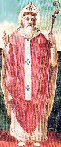 detail of a Saint Benignus of Milan holy card, date and artist unknown; swiped from Santi e Beati; click for source image