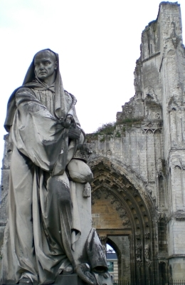 statue of Saint Bertin the Great outside the ruins of Saint-Omer, date unknown, artist unknown; photographed on 31 May 2008 by Romainberth; swiped from Wikimedia Commons