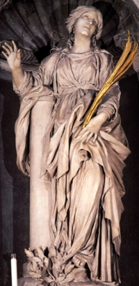 statue of Saint Bibiana by Gian Lorenzo Bernini, Santa Bibiana, Rome, Italy, date unknown; swiped from Wikimedia Commons