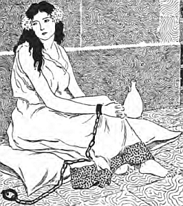 illustration of Saint Blandina the Slave; from 'Virgin Saints and Martyrs' by Sabing Baring-Gould, 1924