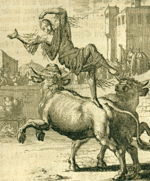 detail of an illustration by Jan Luyken of the martyrdom of Saint Blandina from the book The Martyrs Mirror, 1685 edition; swiped from Wikimedia Commons