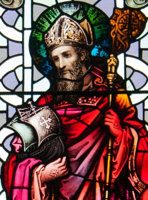 detail of a stained glass window of Saint Brendan the Navigator, date unknown, artist unknown; church of Saint James, Glenleigh, Kerry, Ireland; photographed on 9 September 2012 by Andreas F. Borchert; swiped from Wikimedia Commons