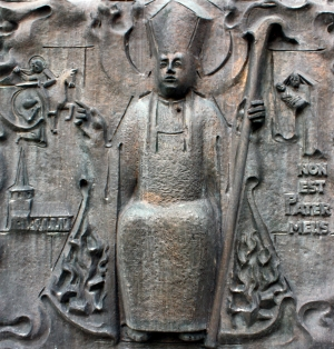 bas-relief of Saint Brictius of Tours, Hürth-Stotzheim, Germany; date unknown, artist unknown; photographed in November 2008 by Willy Horsch; swiped from Wikimedia Commons