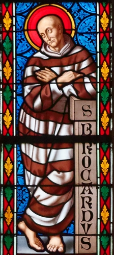 detail of a stained glass window in the Notre-Dame-des-Carmes church in Pont-l'Abbé in Finistère, France, date and artist unknown; photographed on 11 July 2016 by Thesupermat; swiped from Wikimedia Commons