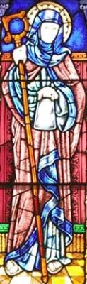 detail of a stained glass window of Saint Bronach, Rosstrevor, Ireland, artist unknown